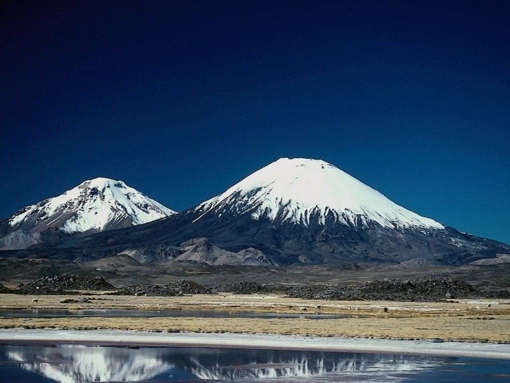 immagini neve, cime con la neve, montagne innevate, lago specchio, radura
