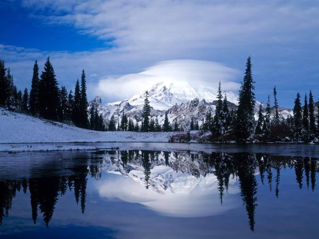 Riflesso, sul, lago, alpino