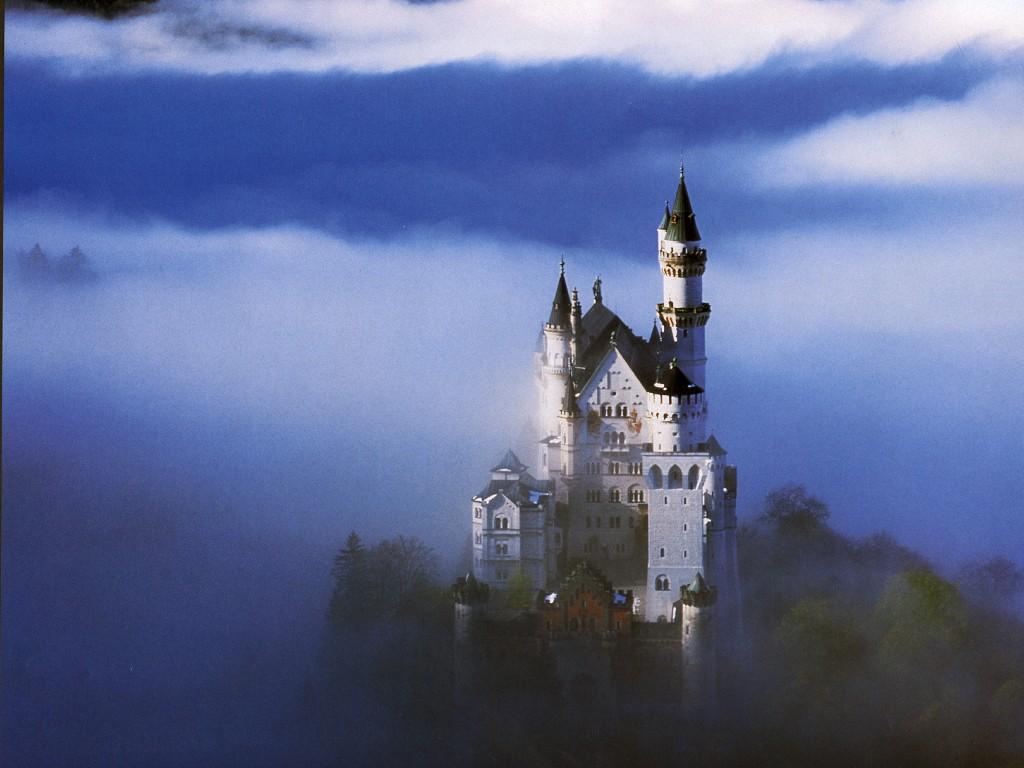 castello, sogno, nuvole, suggestivo