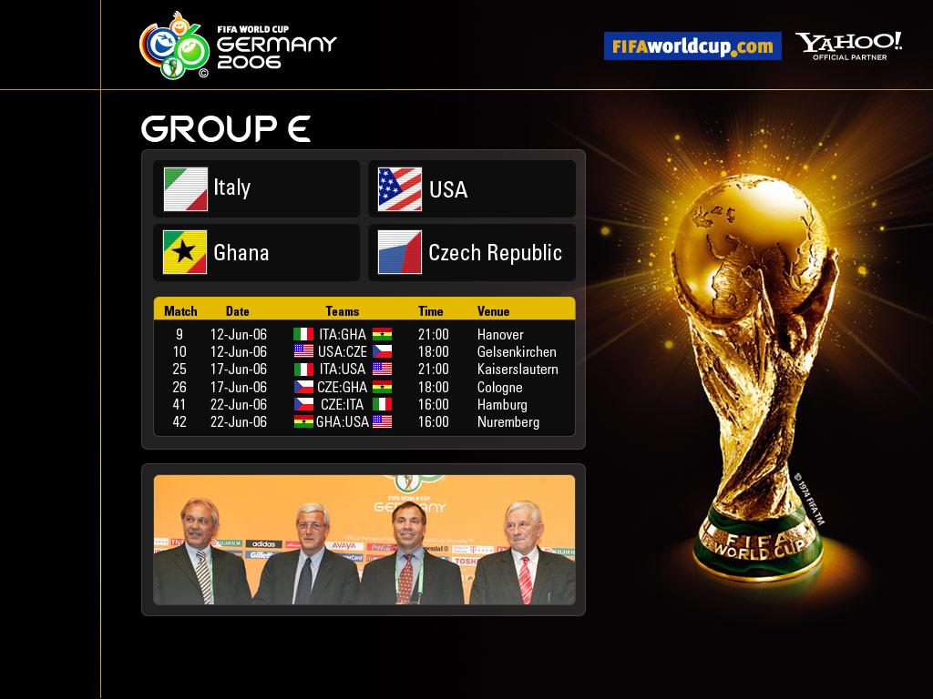 Gruppo E,Italia, Ghana, USA, Repubblica Ceca