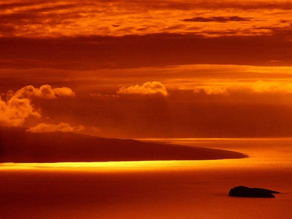 tramonto, mare, sole, incanto